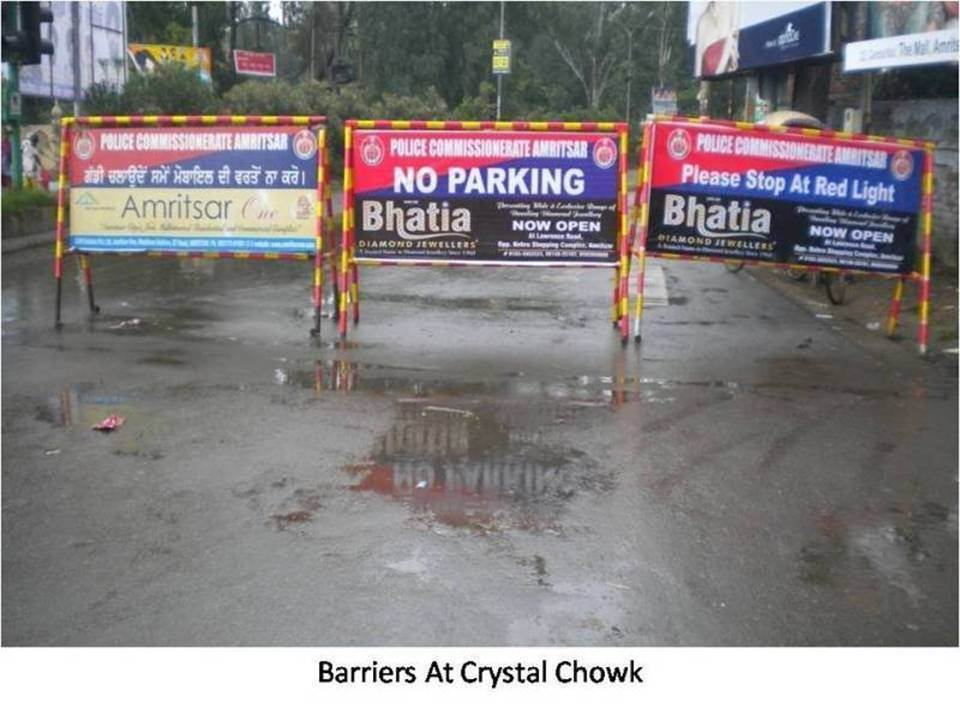 Barriers at Crystal Chowk, Amritsar