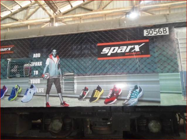 Full EMU train vinyl wrapping at Westernline,Sparx Shoes, Mumbai